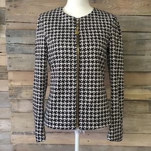 Anne Klein Houndstooth Collarless Jacket Zip Up 6